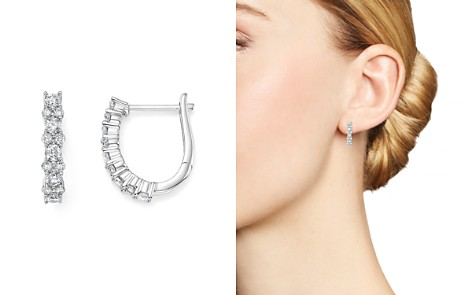 Diamond Huggie Hoop Earrings in 14K White Gold, .75 ct. t.w. - 100% Exclusive - Bloomingdale's_2