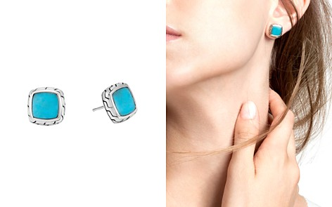 John Hardy Sterling Silver Classic Chain Stud Earrings with Turquoise - Bloomingdale's_2