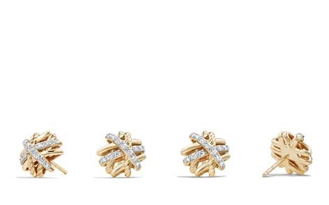 David Yurman Crossover Earrings with Diamonds in 18K Gold - Bloomingdale's_2
