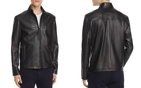 Cole Haan Lambskin Leather Stand Collar Jacket - Bloomingdale's_2