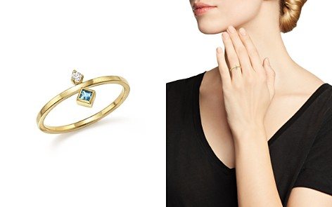 Zoë Chicco 14K Yellow Gold Wire Ring with Stacked Aquamarine and Diamond - 100% Exclusive - Bloomingdale's_2