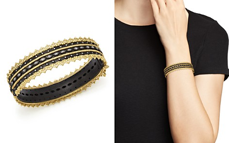 Armenta 18K Yellow Gold and Blackened Sterling Silver Old World Diamond and White Sapphire Scalloped Edge Bangle - Bloomingdale's_2