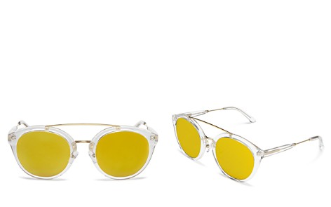 Lyndon Leone Julia Round Oversized Mirrored Sunglasses, 53mm - 100% Exclusive - Bloomingdale's_2