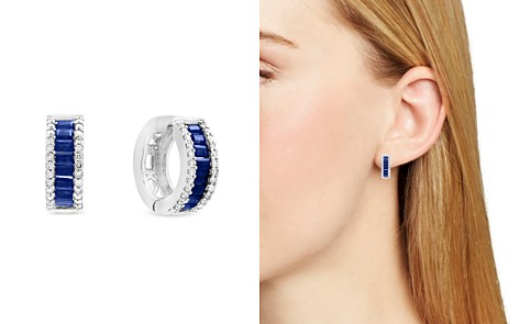 Sapphire and Diamond Hoop Earrings in 14K White Gold - 100% Exclusive - Bloomingdale's_2
