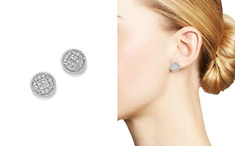 Round and Princess-Cut Diamond Cluster Earrings in 14K White Gold, 2.0 ct. t.w. - 100% Exclusive - Bloomingdale's_2
