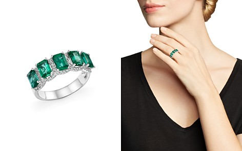 Emerald and Diamond Band Ring in 14K White Gold - 100% Exclusive - Bloomingdale's_2
