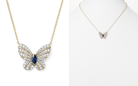 "Diamond and Sapphire Butterfly Pendant Necklace in 14K Yellow Gold, 17"" - 100% Exclusive - Bloomingdale's_2"