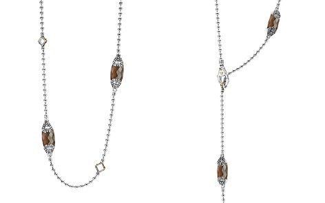"LAGOS 18K Gold and Sterling Silver Caviar Color Station Necklace with Smoky Quartz, 34"" - Bloomingdale's_2"