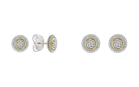LAGOS 18K Gold and Sterling Silver Signature Caviar Diamond Stud Earrings - Bloomingdale's_2