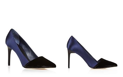 Oscar de la Renta Vik Velvet and Satin Color Block Pointed Toe Pumps - Bloomingdale's_2
