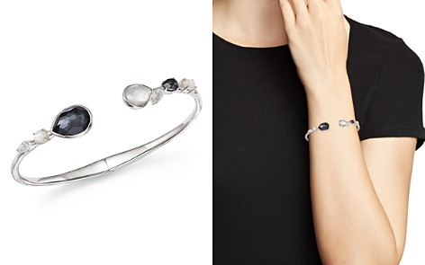IPPOLITA Sterling Silver Rock Candy® Hematite Doublet, Mother-of-Pearl Doublet and Clear Quartz Open Bangle in Piazza - Bloomingdale's_2
