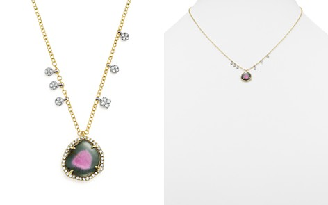 "Meira T 14K White and Yellow Gold Diamond Charm and Watermelon Tourmaline Pendant Necklace, 16"" - Bloomingdale's_2"