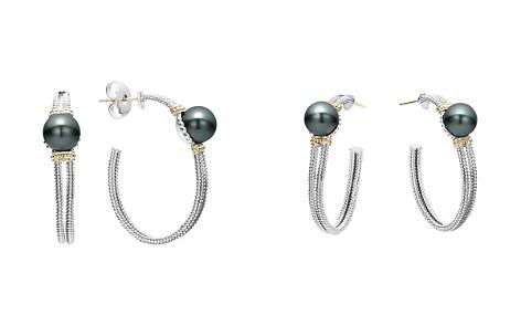 LAGOS 18K Gold and Sterling Silver Luna Cultured Tahitian Pearl Hoop Earrings - Bloomingdale's_2