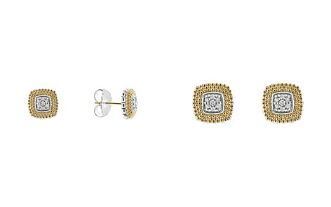 LAGOS 18K Gold and Sterling Silver Diamond Lux Square Stud Earrings - Bloomingdale's_2