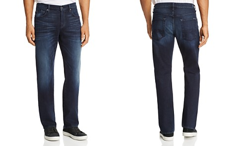 7 For All Mankind Carsen Dark Current Straight Fit Jeans in Dark Indigo - Bloomingdale's_2