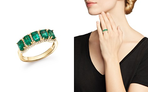 Emerald and Diamond Ring in 14K Yellow Gold - 100% Exclusive - Bloomingdale's_2