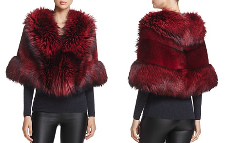 Maximilian Feathered Saga Fox Fur-Trim Mink Cape - Bloomingdale's_2