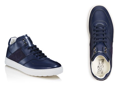 Salvatore Ferragamo Men's Cliff Leather Mid Top Sneakers - 100% Exclusive - Bloomingdale's_2
