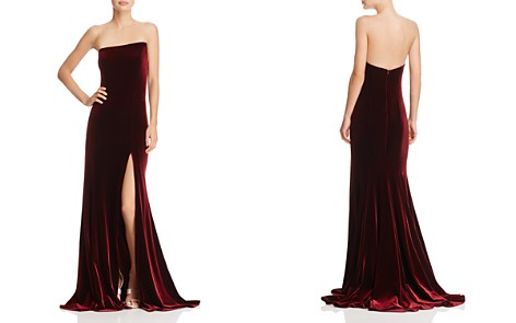 AQUA Asymmetric Strapless Velvet Gown - 100% Exclusive - Bloomingdale's_2