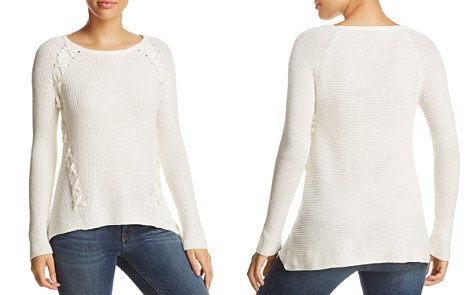 Design History Shark Bite Lace-Up Ribbed Sweater - Bloomingdale's_2