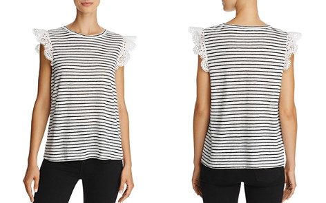 Joie Acenath Striped Lace Cap-Sleeve Top - Bloomingdale's_2