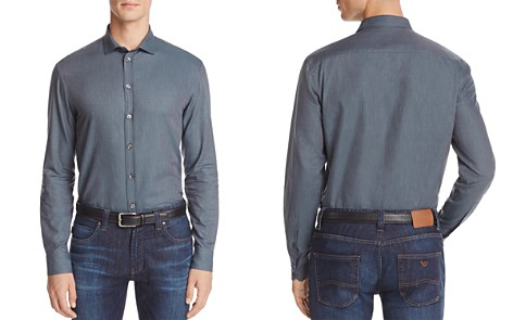 Armani Collezioni Solid Classic Fit Button-Down Shirt - Bloomingdale's_2