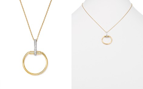 "Roberto Coin 18K White & Yellow Gold Classic Parisienne Diamond Round Pendant Necklace, 17"" - Bloomingdale's_2"