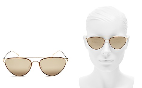 3a181368da7ce Oliver Peoples Women s Floriana Brow Bar Mirrored Cat Eye Sunglasses