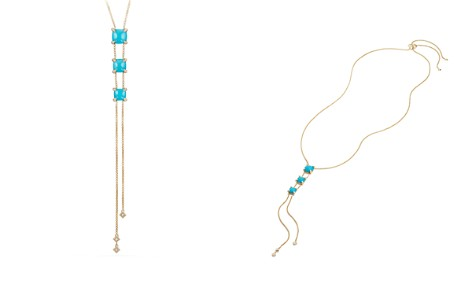 David Yurman Châtelaine Y Necklace with Turquoise & Diamonds in 18K Gold - Bloomingdale's_2