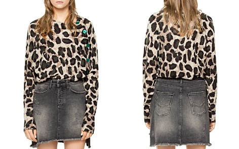 Zadig & Voltaire Justy Leopard-Print Button-Detail Cashmere Sweater - Bloomingdale's_2