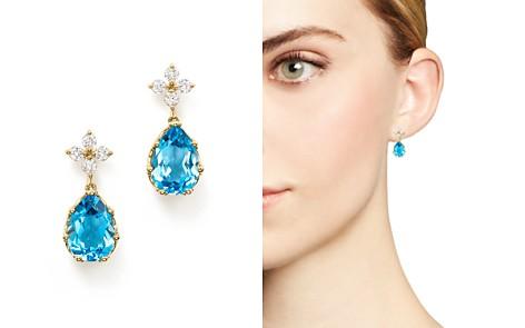 Bloomingdale's Diamond & Blue Topaz Drop Earrings in 14K Yellow Gold - 100% Exclusive_2