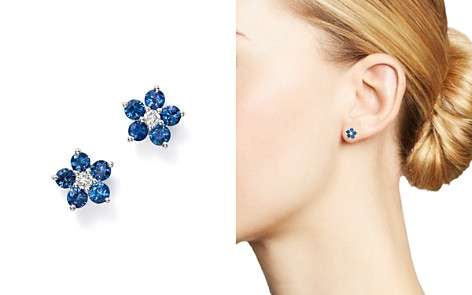 Bloomingdale's Blue Blue Sapphire & Diamond Flower Stud Earrings in 14K White Gold - 100% Exclusive_2
