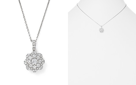 Bloomingdale's Diamond Cluster Floral Pendant Necklace in 14K White Gold, 0.55 ct. t.w. - 100% Exclusive_2