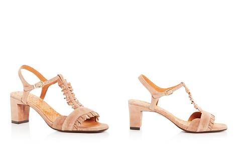 Chie Mihara Women's Laubo Suede Ruffle T-Strap Mid Heel Sandals - Bloomingdale's_2
