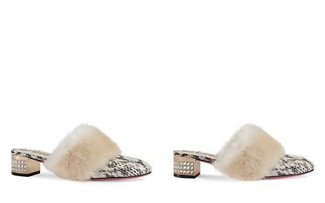 Gucci Women's Candy Snakeskin & Mink Fur Embellished Mule Pumps - Bloomingdale's_2