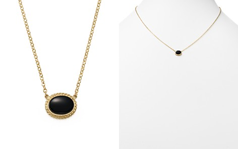 """Bloomingdale's Onyx Oval Pendant Necklace in 14K Yellow Gold, 18"""" - 100% Exclusive _2"""