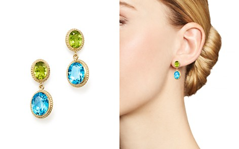 Bloomingdale's Blue Topaz & Peridot Drop Earrings in 14K Yellow Gold - 100% Exclusive _2