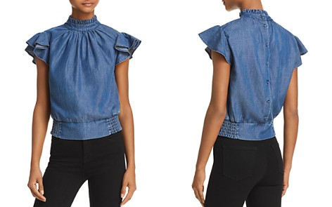 FRAME Flutter Sleeve Smocked Chambray Top - 100% Exclusive - Bloomingdale's_2