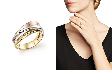 Bloomingdale's Sculpted Triple Row Band on 14K Rose, White & Yellow Gold - 100% Exclusive_2