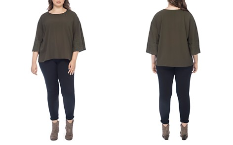 B Collection by Bobeau Curvy Elisa Embroidered-Sleeve Blouse - Bloomingdale's_2