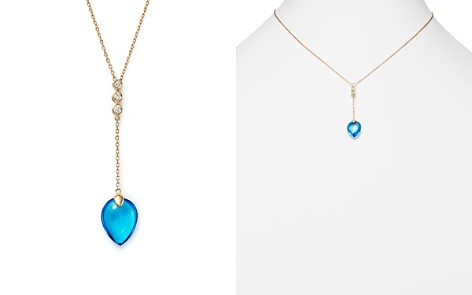"""Olivia B 14K Yellow Gold Swiss Blue Topaz & Diamond Y Necklace, 15"""" - 100% Exclusive - Bloomingdale's_2"""