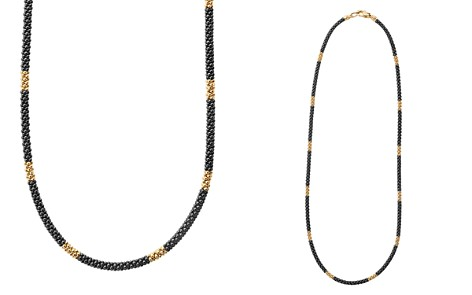 "LAGOS Gold & Black Caviar Collection 18K Gold & Ceramic Long Station Necklace, 16"" - Bloomingdale's_2"