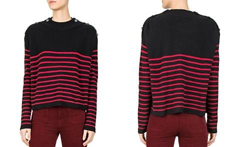 The Kooples Striped Button-Detail Cashmere Sweater - Bloomingdale's_2