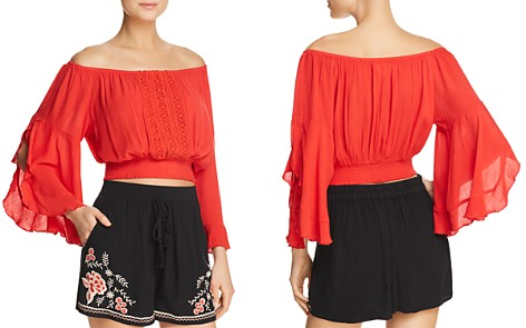Band of Gypsies Off-the-Shoulder Lace-Inset Top - 100% Exclusive - Bloomingdale's_2