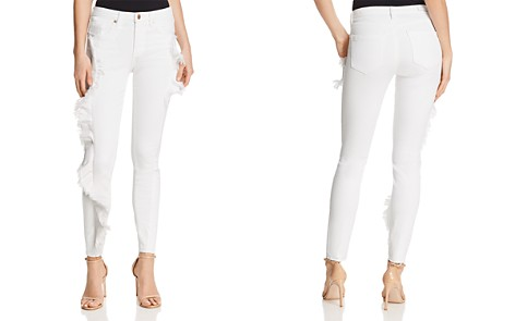 BLANKNYC Ruffled Skinny Jeans in White - 100% Exclusive - Bloomingdale's_2