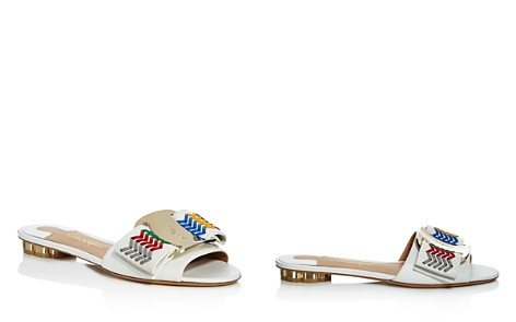Salvatore Ferragamo Women's Woven Leather Bow Slide Sandals - Bloomingdale's_2