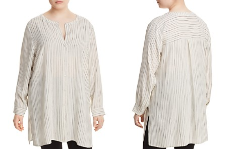 Eileen Fisher Plus Pinstriped Silk Tunic Top - Bloomingdale's_2