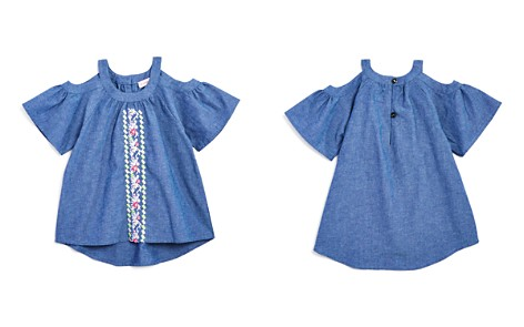 Design History Girls' Embroidered Cold-Shoulder Chambray Top - Little Kid - Bloomingdale's_2