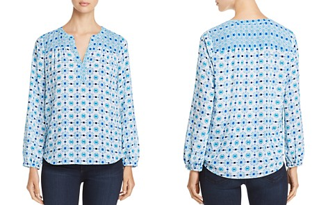 NYDJ Mixed-Print Peasant Top - 100% Exclusive - Bloomingdale's_2
