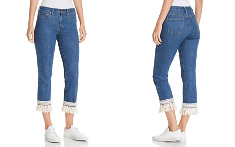 Tory Burch Connor Fringe-Trimmed Straight Crop Jeans in Stonewash - Bloomingdale's_2